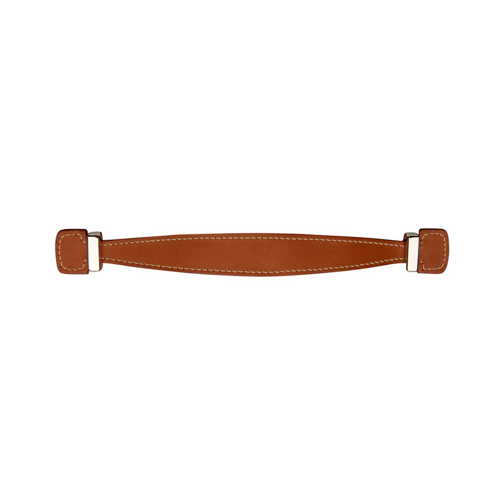 "Waterworks Rockport 9"" Tan Leather Pull in Unlacquered Brass"