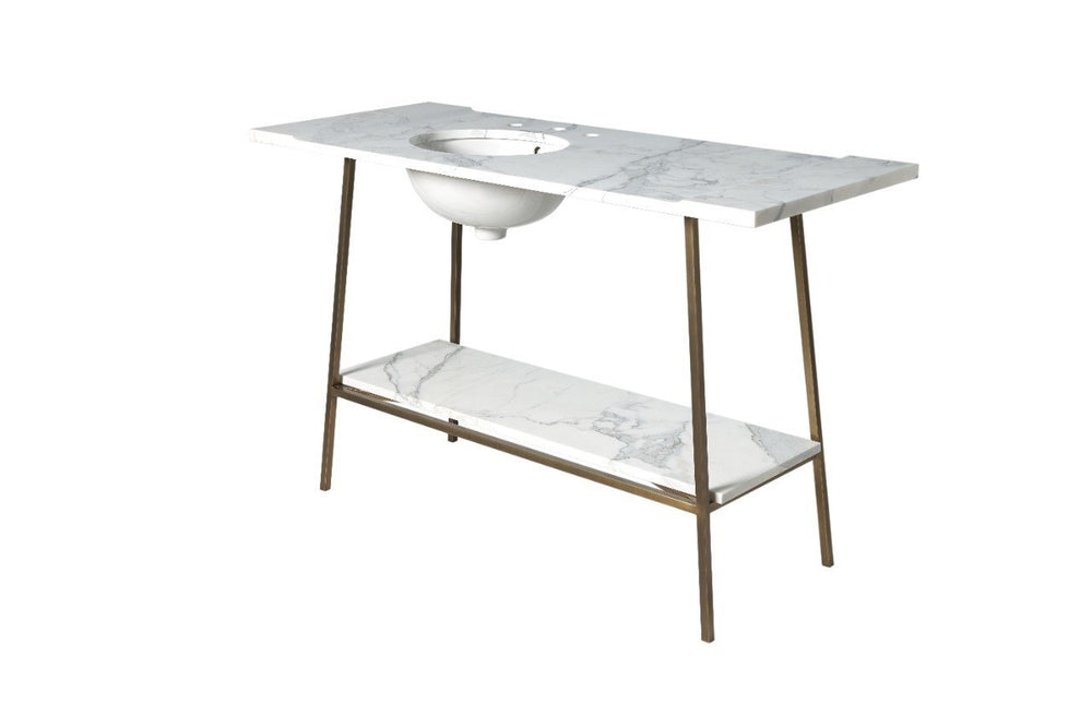 "Waterworks Rowan Single Washstand 45 1/2"" x 20 3/4"" x 33 1/2"" in Matte Nickel"
