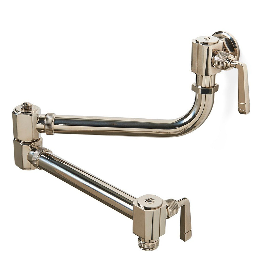 Waterworks RW Atlas Wall Mounted Articulated Pot Filler, Metal Lever Handles in Vintage Brass