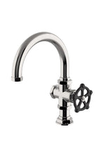 Waterworks Regulator One Hole Gooseneck Bar Faucet, Black Wheel Handle in Burnished Nickel