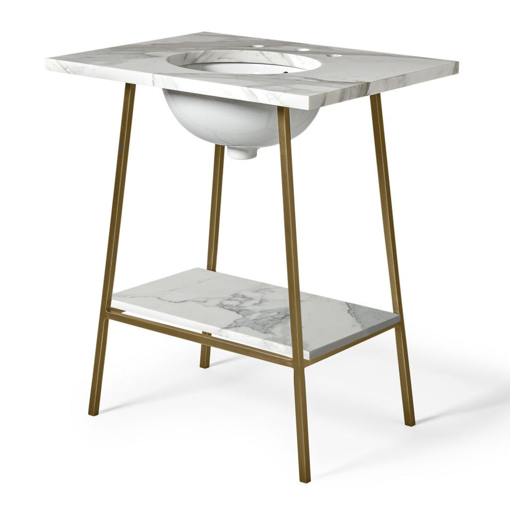 "Waterworks Rowan Single Washstand 26"" x 20 3/4"" x 33 1/2"" in Matte Nickel"