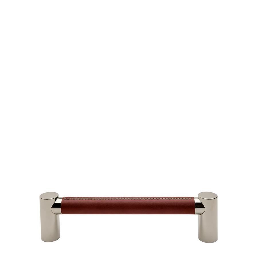 "Waterworks Sonoma 12"" Chestnut Leather Pull in Unlacquered Brass"