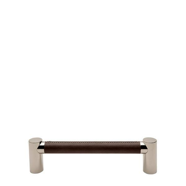 "Waterworks Sonoma 12"" Chocolate Leather Pull in Unlacquered Brass"