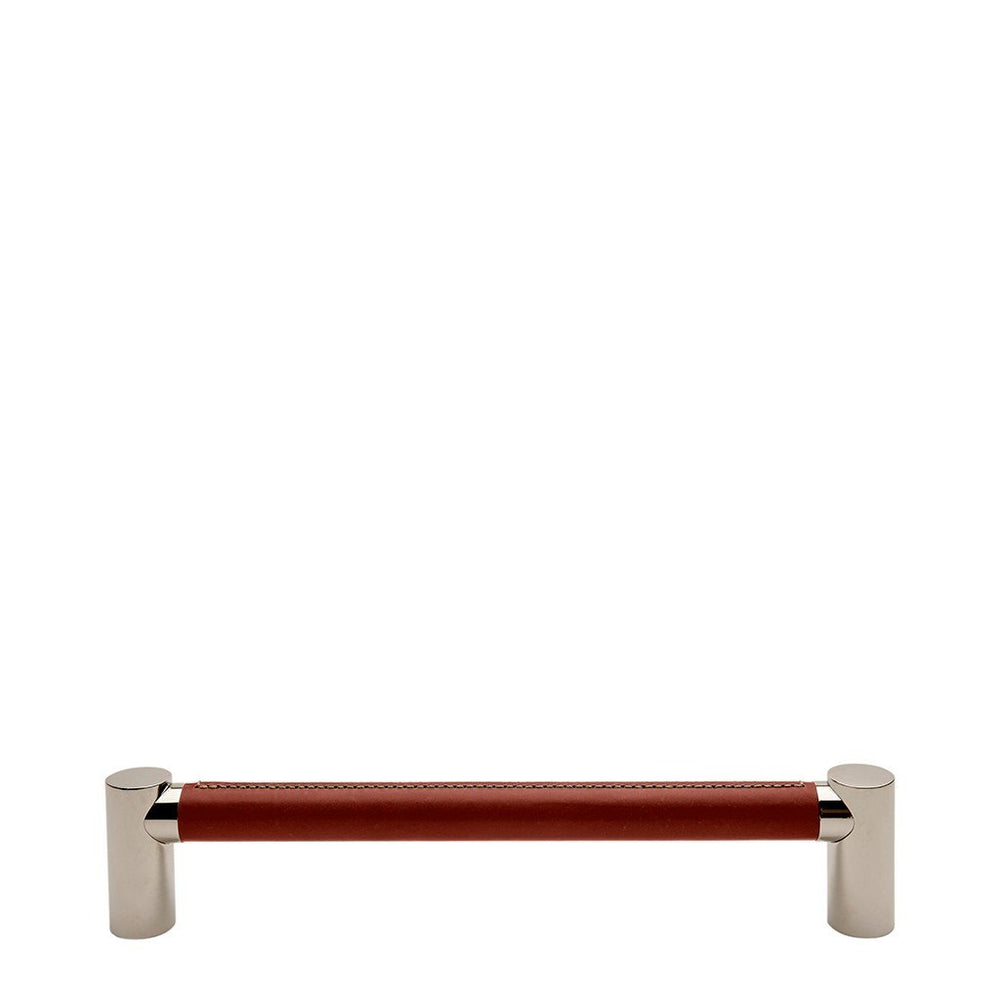 "Waterworks Sonoma 18"" Chestnut Leather Pull in Unlacquered Brass"