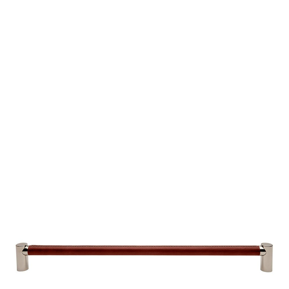 "Waterworks Sonoma 24"" Chestnut Leather Pull in Unlacquered Brass"