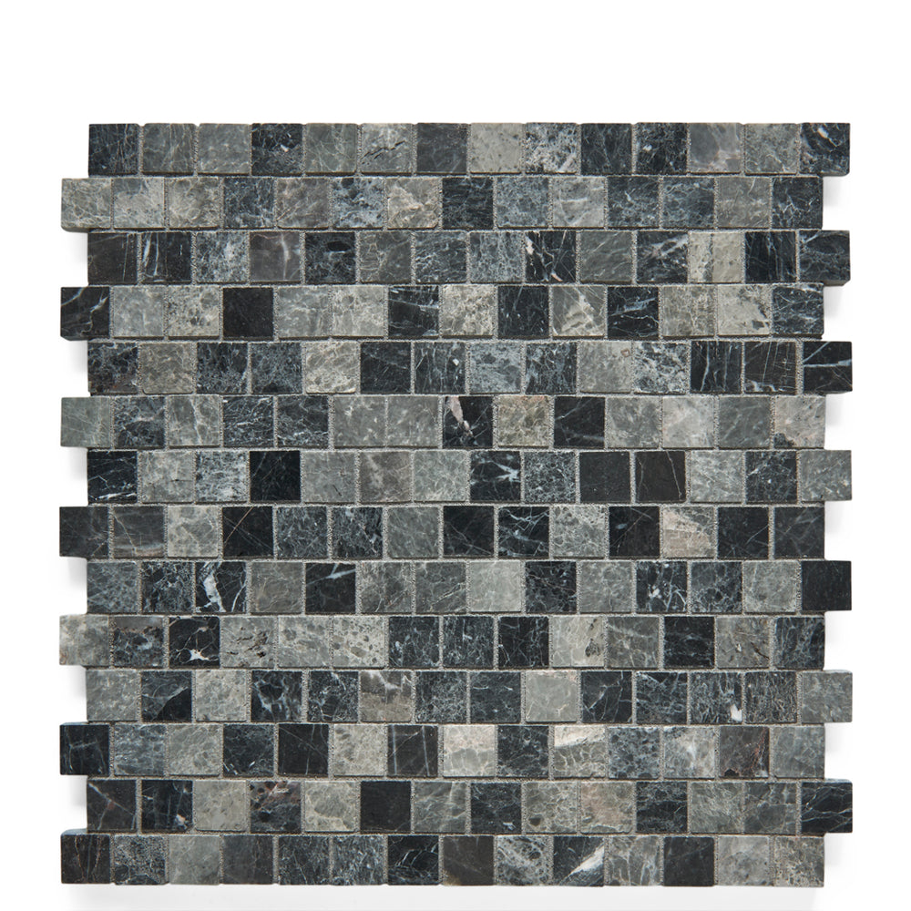 Waterworks Studio Stone 2cm Staggered Mosaic in Graystone Polished