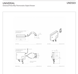 Universal Three Way Thermostatic Digital Shower in Unlacquered Brass