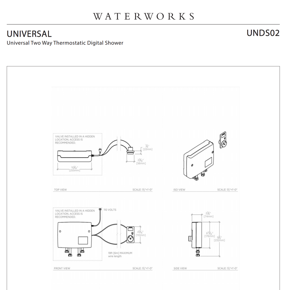 Waterworks Universal Two Way Thermostatic Digital Shower in Unlacquered Brass