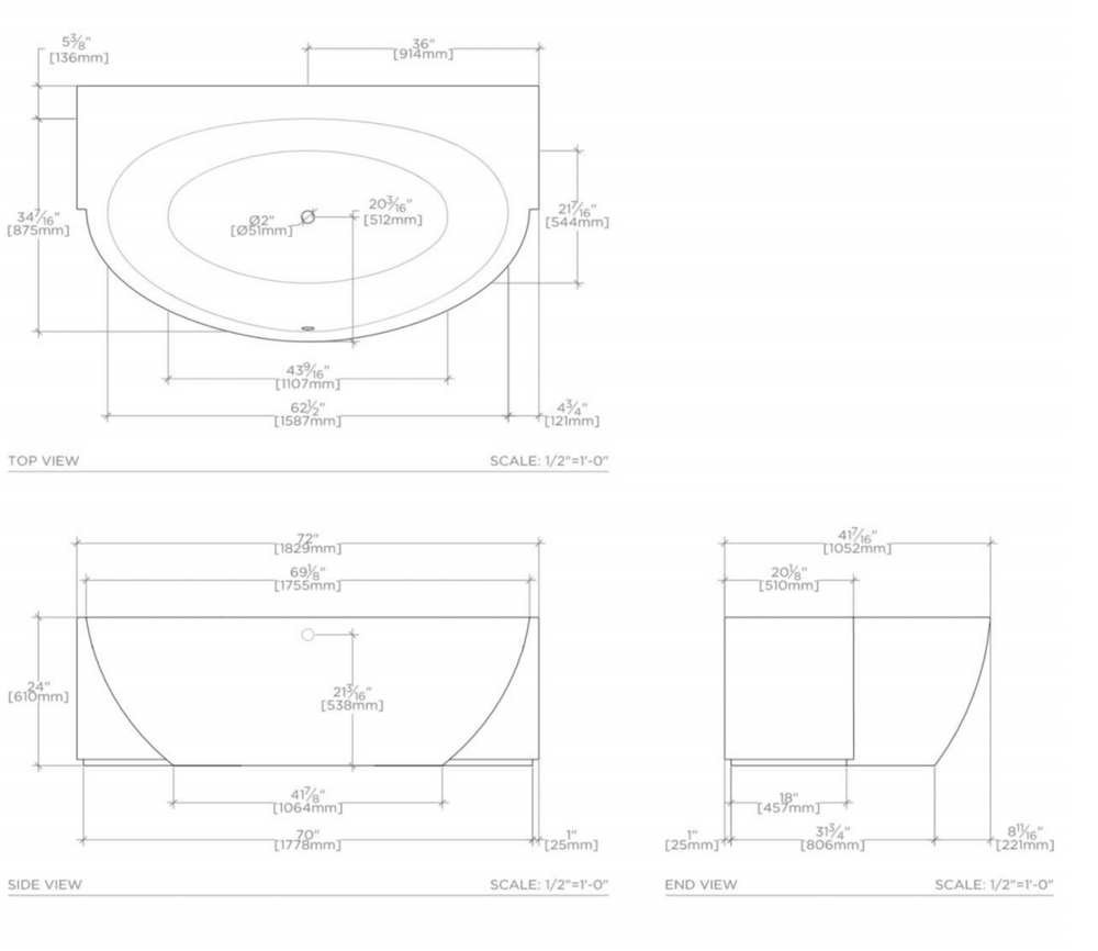 "Waterworks Formwork 72"" x 41 3/8"" x 24"" Lithic Freestanding or Alcove Oval Side Bathtub in Sable Gray"