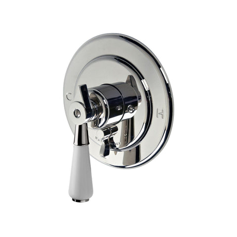 Universal Round Pressure Balance with Diverter Trim with White Porcelain Lever Handle in Chrome