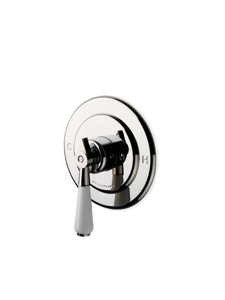 Waterworks Universal Round Pressure Balance Control Valve Trim with White Porcelain Lever Handle in Nickel