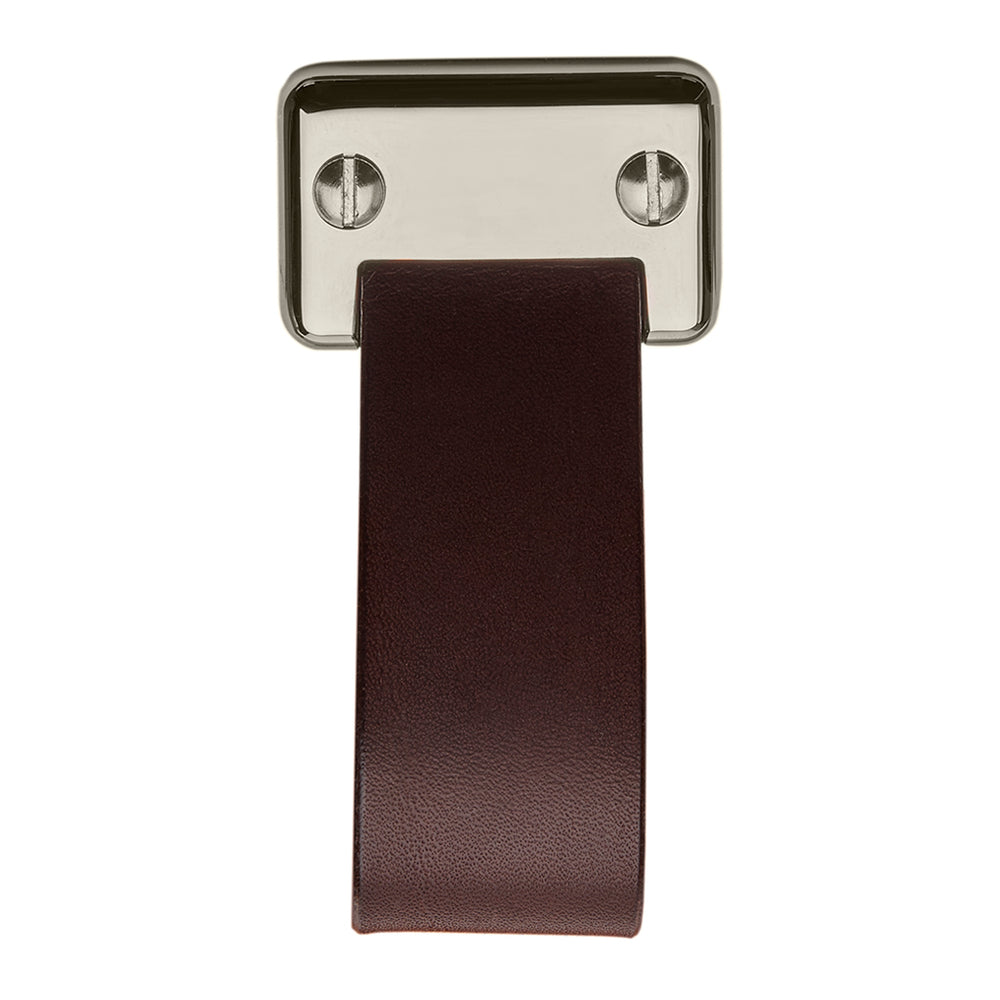 "Waterworks Wilshire 1 1/4"" Chocolate Leather Pull in Unlacquered Brass"