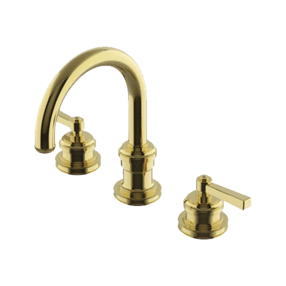 Waterworks Aero Gooseneck Lavatory Faucet with Metal Lever Handles in Unlacquered Brass