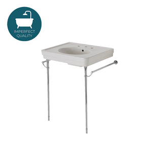 Waterworks Alden Metal Round Two Leg Single Washstand for Sink without Backsplash in Chrome