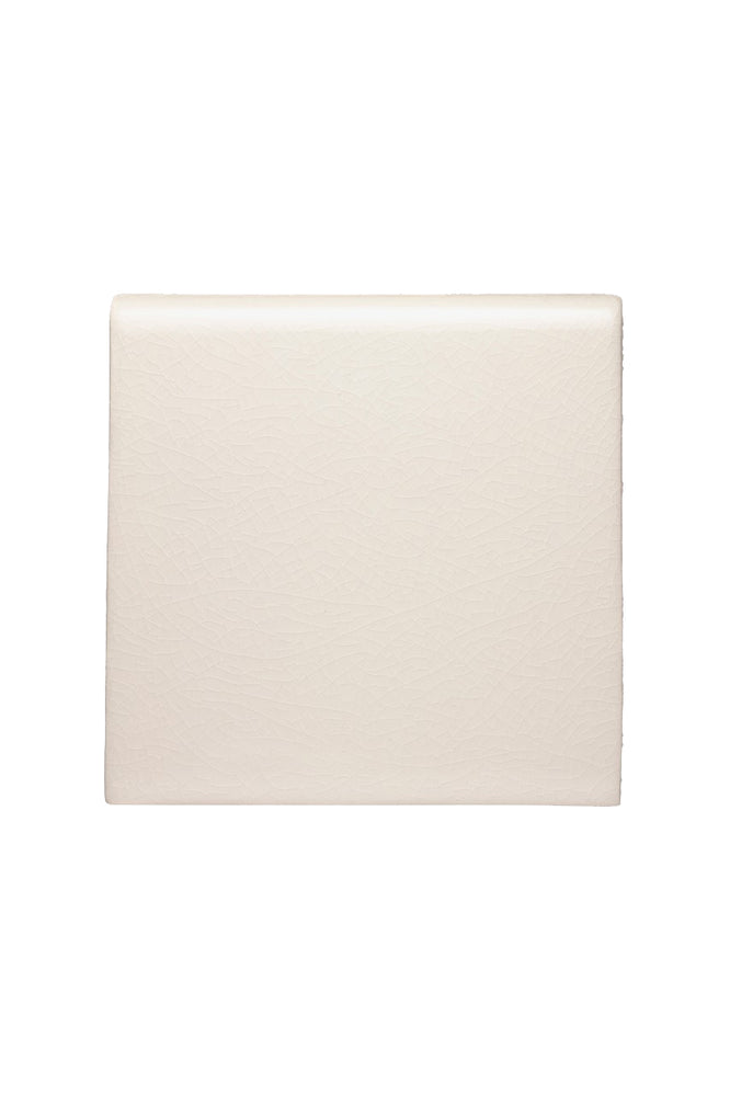 "Waterworks Architectonics Handmade Field Tile 6"" x 6"" Bullnose Single in Dove Glossy Solid"