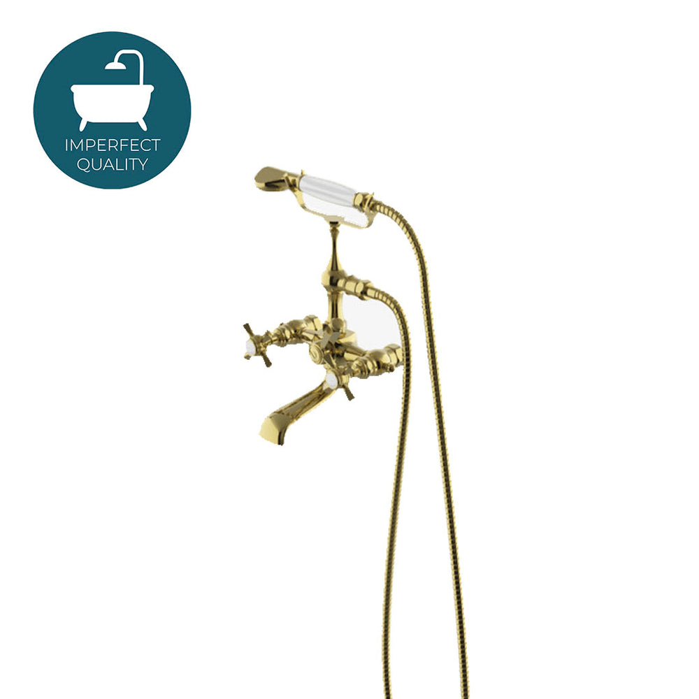 Waterworks Astoria Exposed Tub Filler With Handshower and Cross Handles in Unlacquered Brass