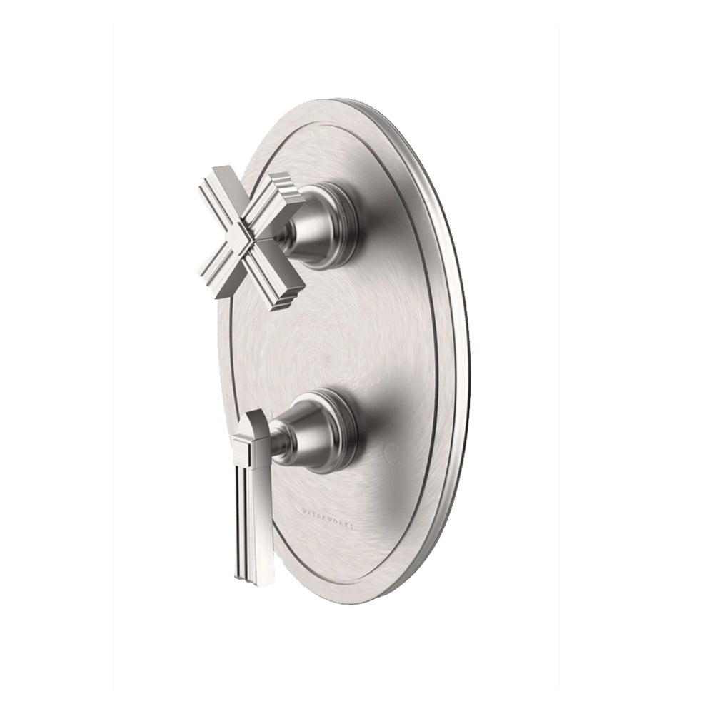 Waterworks Boulevard Metal Lever Handle Thermostatic with Metal Cross Handle Shutoff Trim in Matte Nickel