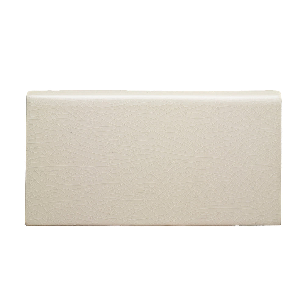 "Waterworks Architectonics Handmade Field Tile 4 1/4"" x 8"" Bullnose Long Single in Pumice Glossy Crackle"