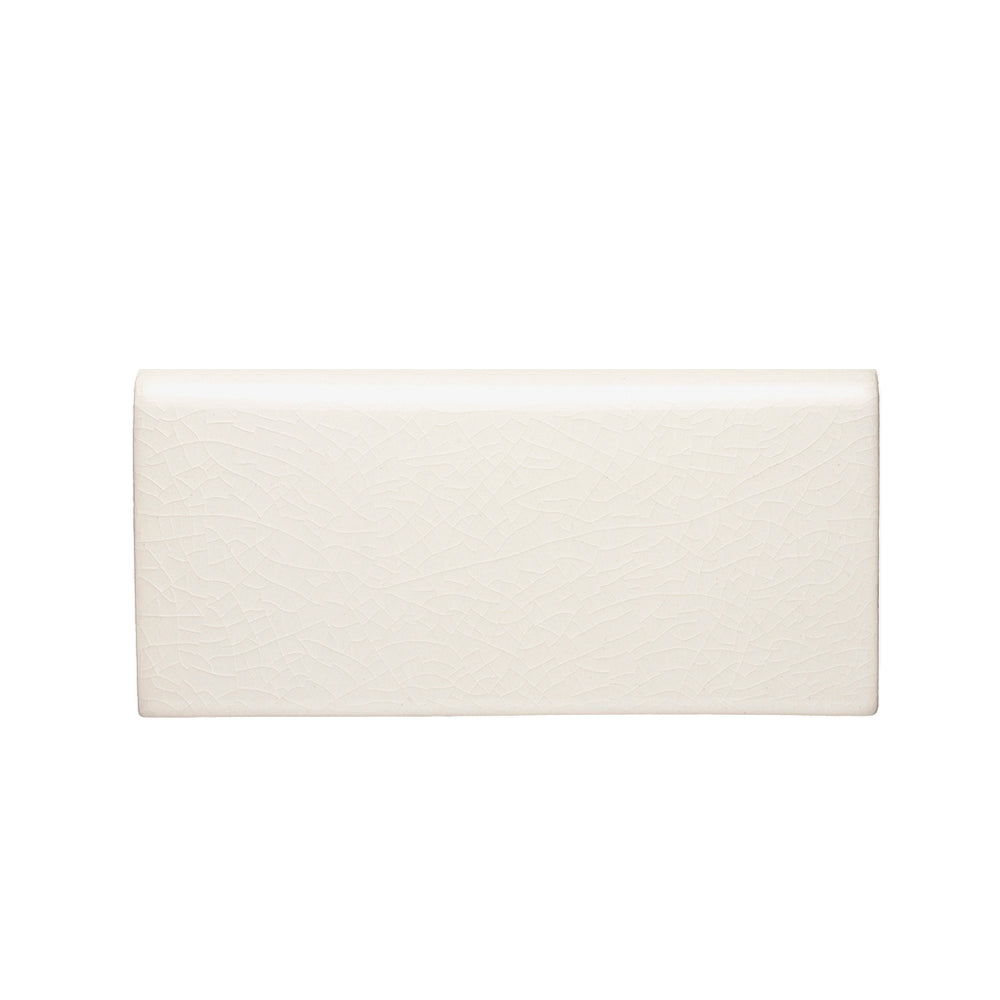 "Waterworks Architectonics Handmade Field Tile 3"" x 6"" Bullnose Long Single in Paperwhite Glossy Layered"