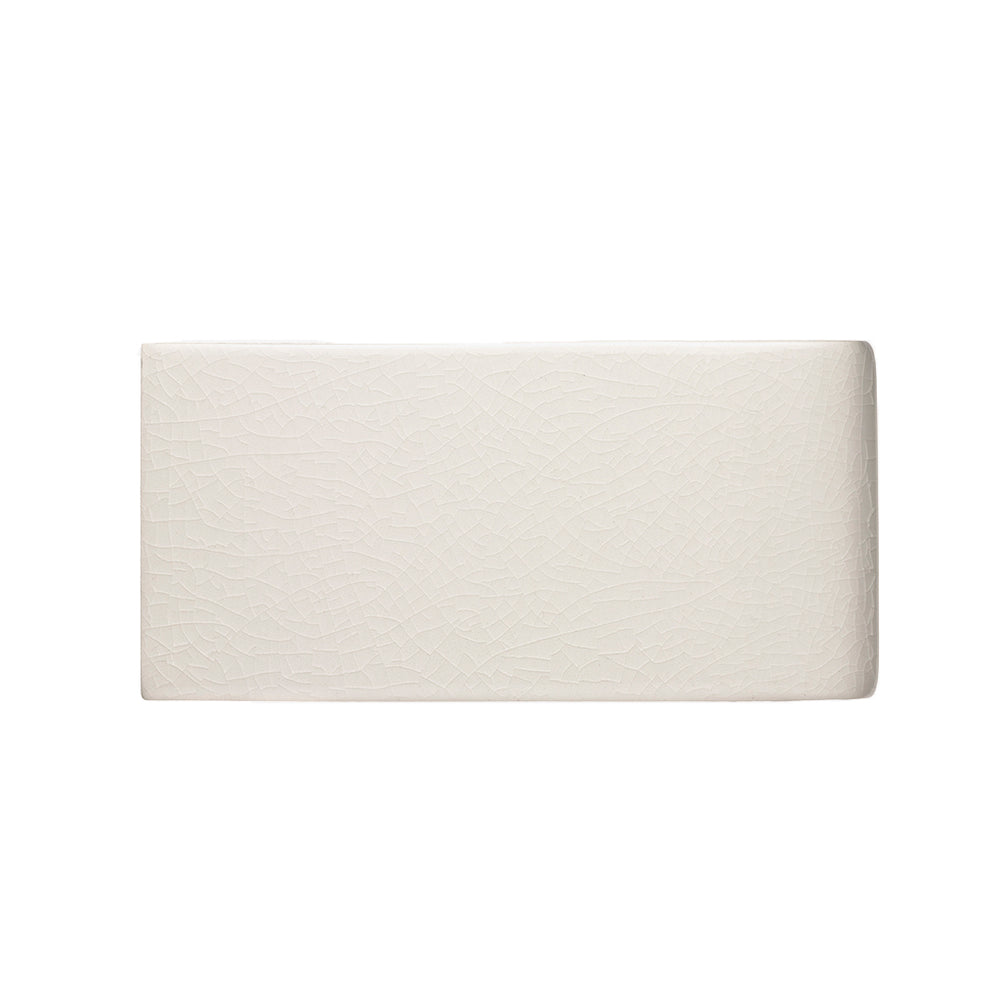 "Waterworks Architectonics Handmade Field Tile 3"" x 6"" Bullnose Short Single in Paperwhite Glossy Layered"