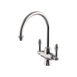 Waterworks Calais One Hole Gooseneck Kitchen Faucet, Metal Lever Handles in Nickel