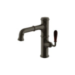 Waterworks Canteen High Profile Kitchen Faucet with Oak Lever Handle in Dark Brass