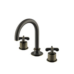 Waterworks Henry Gooseneck Three Hole Deck Mounted Lavatory Faucet with Coin Edge Cylinders in Carbon