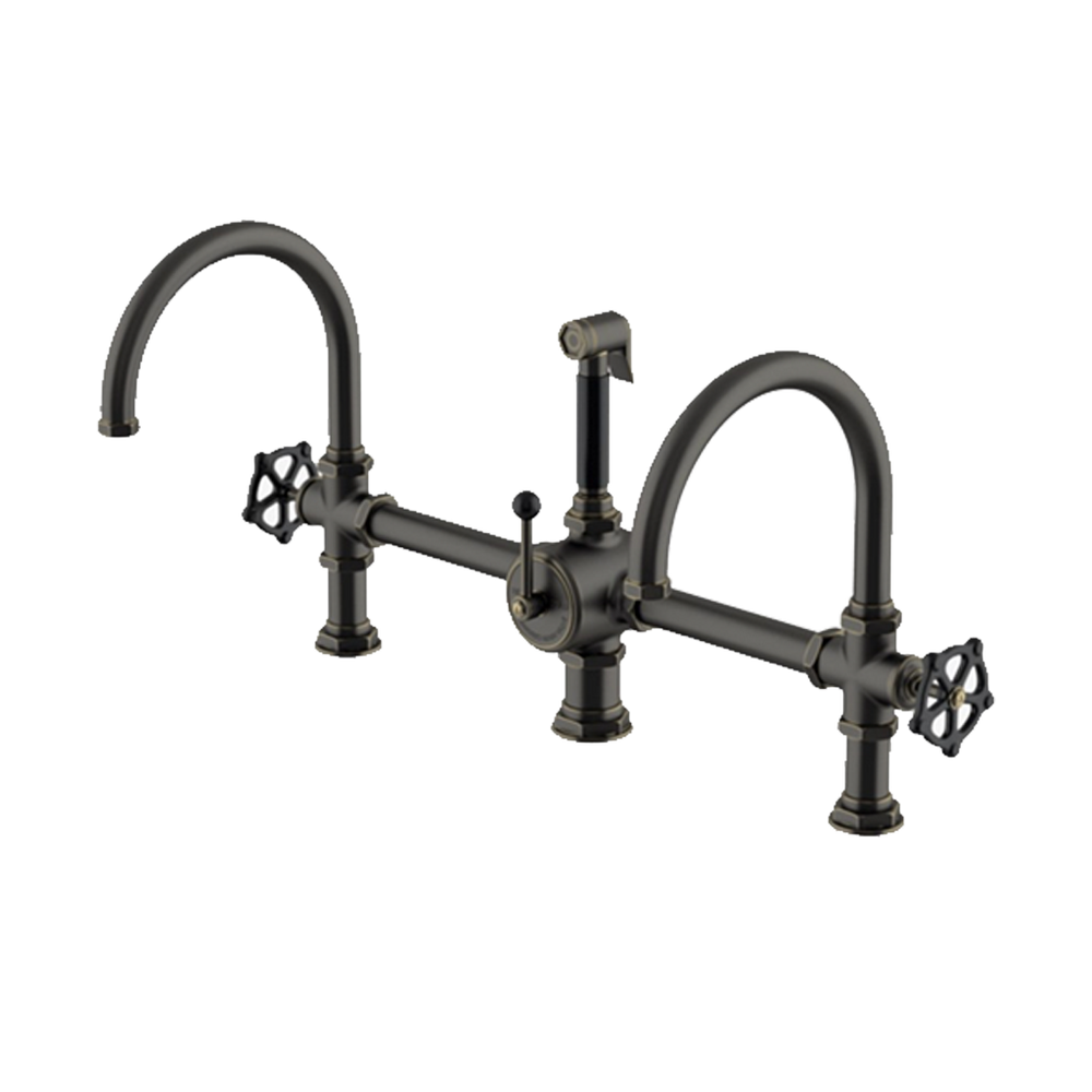 Waterworks Regulator Gooseneck Double Spout Marquee Kitchen Faucet and Spray in Carbon