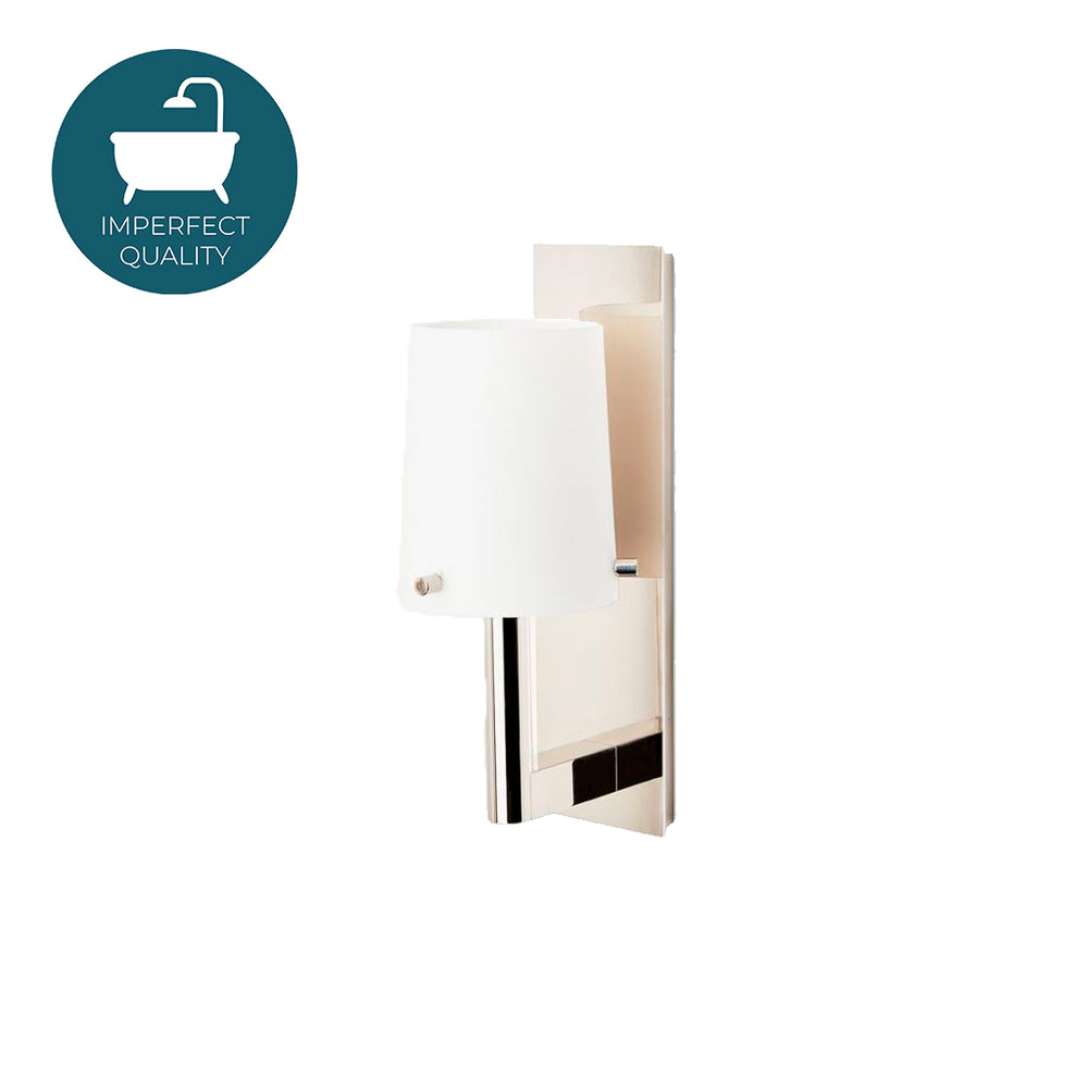 Waterworks Catia Wall Mounted Single Arm Sconce in Brass with White Glass Shade