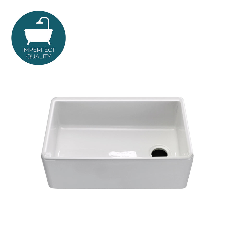 Waterworks Clayburn Fireclay Farmhouse Apron Kitchen Sink in White