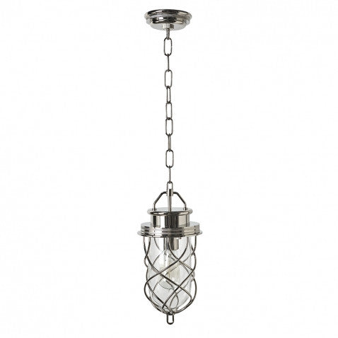 Compass Ceiling Mounted Small Pendant with Glass Shade in Nickel