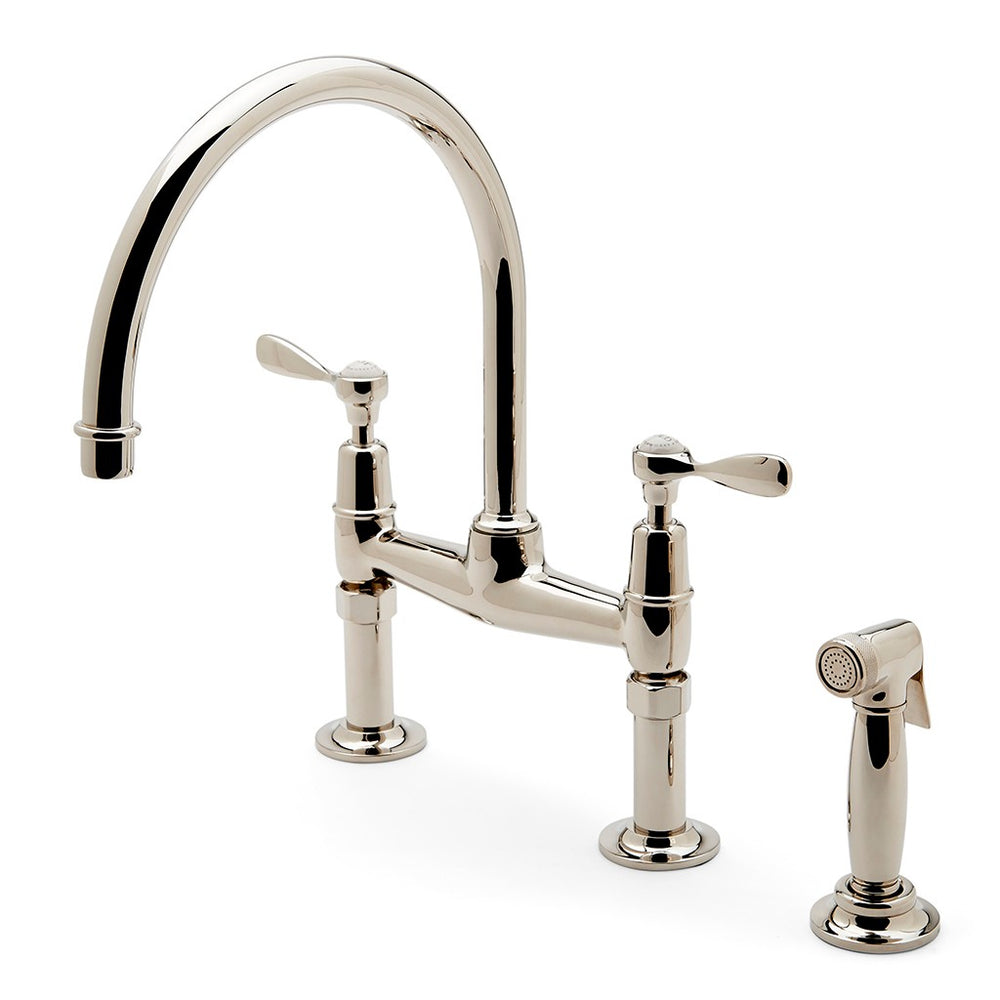 Waterworks Easton Classic Two Hole Bridge Gooseneck Kitchen Faucet, Metal Lever Handles and Spray in Chrome