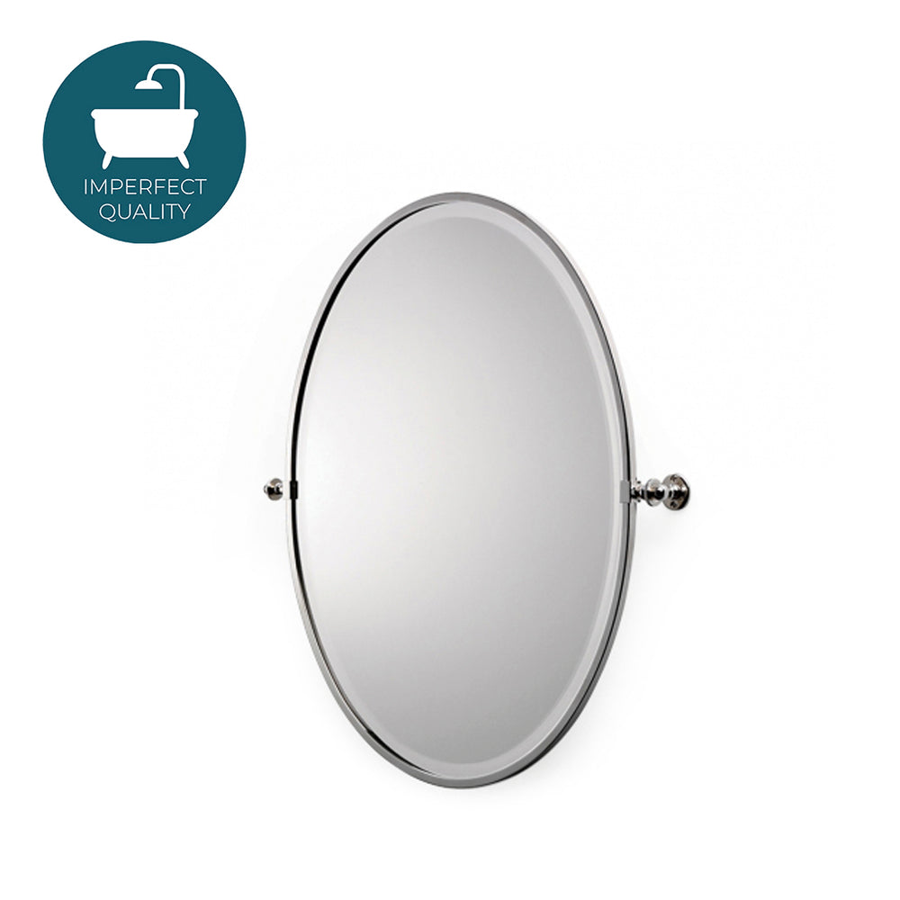 Waterworks Crystal Metal Oval Wall Mounted Tilting Mirror in Nickel