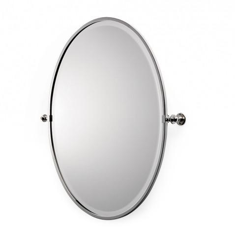 "Waterworks Crystal Metal Oval Wall Mounted Tilting Mirror 27 13/16"" x 29 15/16"" x 2 3/4"" in Matte Nickel"