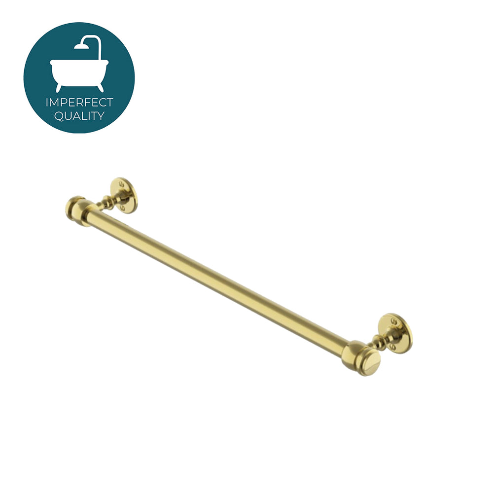 "Waterworks Crystal 18"" Single Metal Towel Bar in Unlacquered Brass"