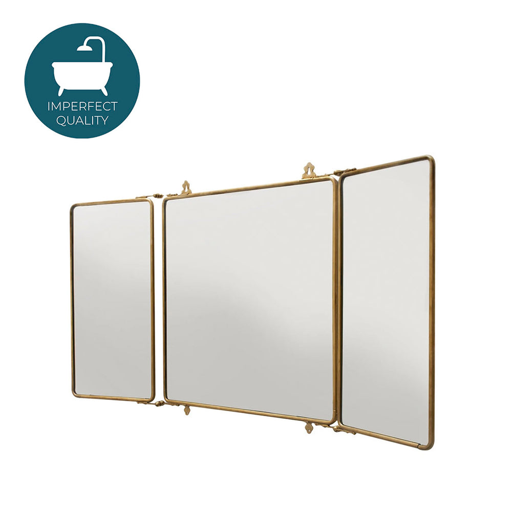 Waterworks Daphne Metal Rectangular Wall Mounted Trifold Mirror in Patina Brass