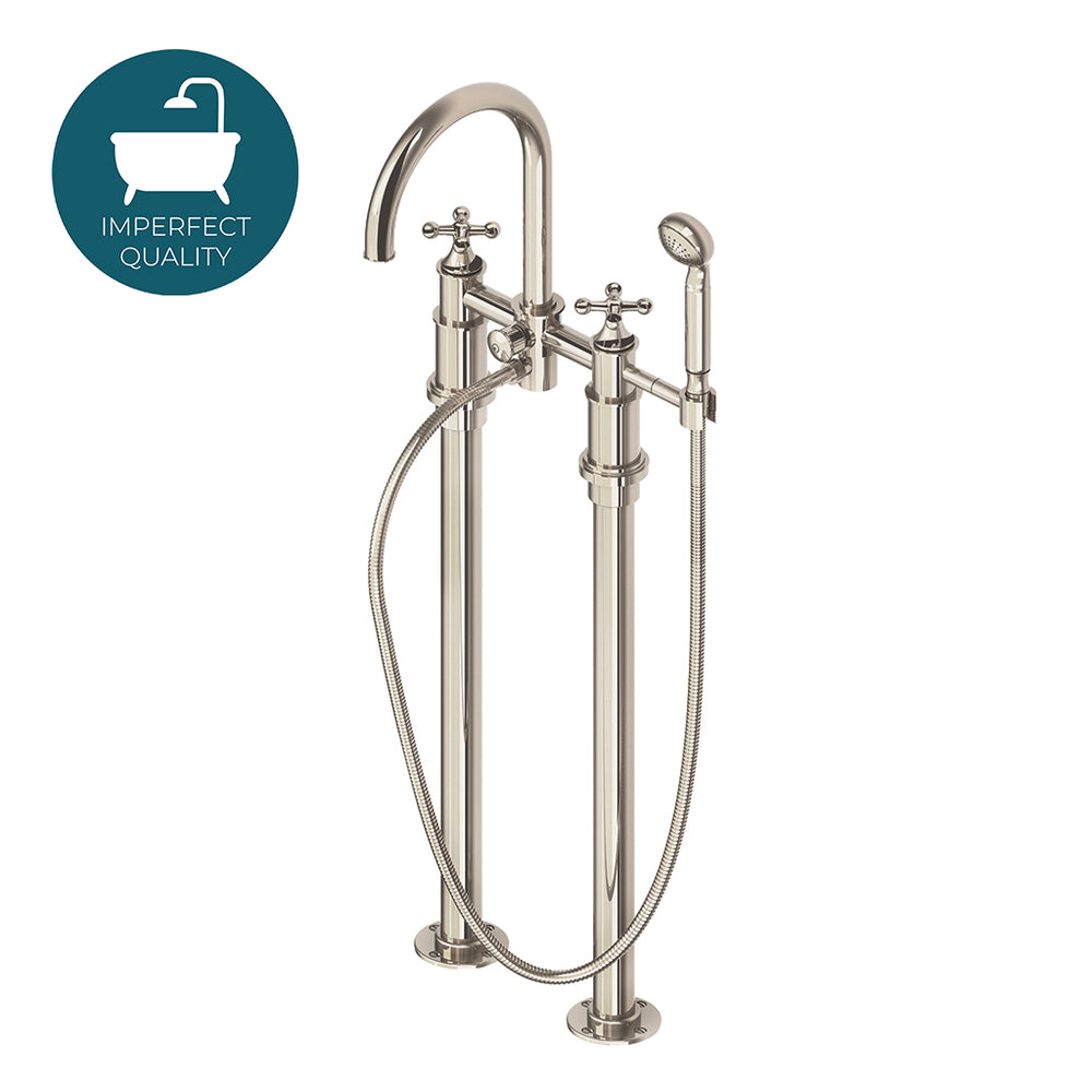 Waterworks Dash Floor Mounted Exposed Tub Filler with Handshower in Unlacquered Brass