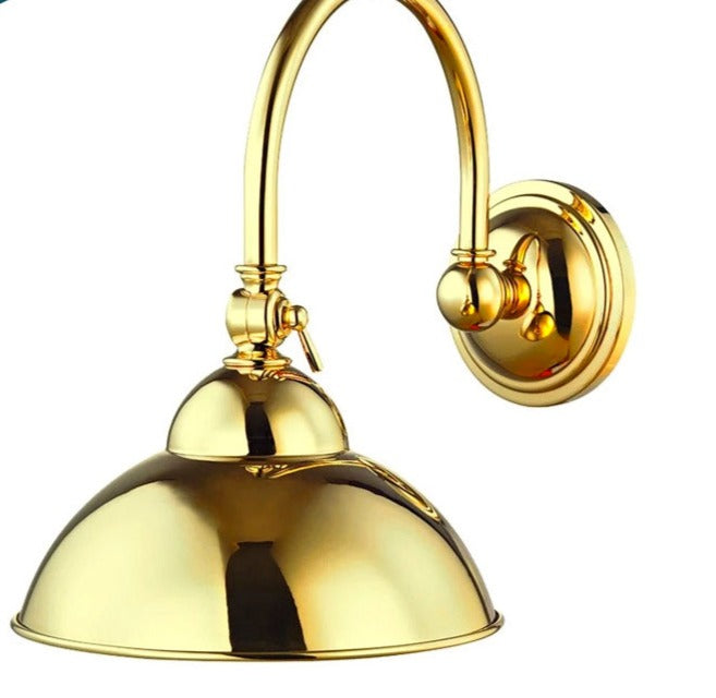Waterworks Derby Wall Mounted Single Large Hook Arm Sconce in Unlacquered Brass
