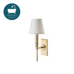Waterworks Dewey Wall Mounted Sconce in Unlacquered Brass