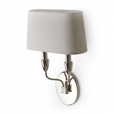 Waterworks Dunhill Wall Mounted Double Arm Sconce in Nickel