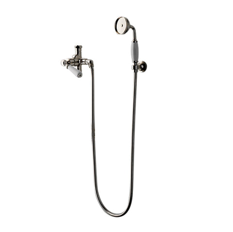 Waterworks Easton Classic Handshower with Diverter and White Porcelain Lever Handle in Matte Nickel, 2.5gpm