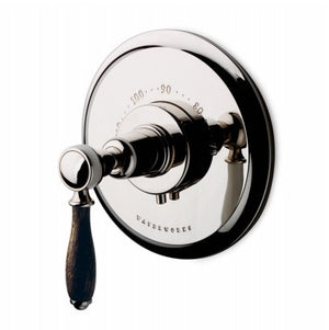 Waterworks Easton Classic Thermostatic Control Valve Trim with Oak Lever Handle in Chrome