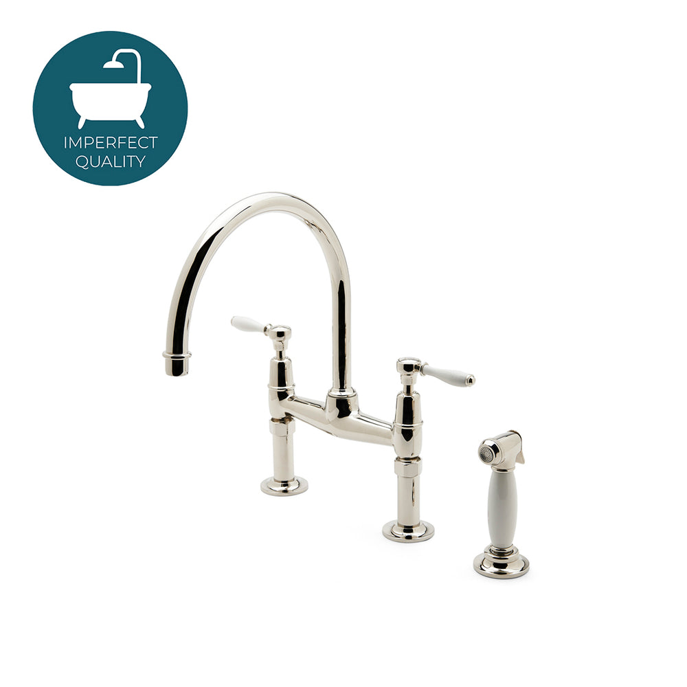 Waterworks Easton Classic Bridge Kitchen Faucet with Spray in Nickel