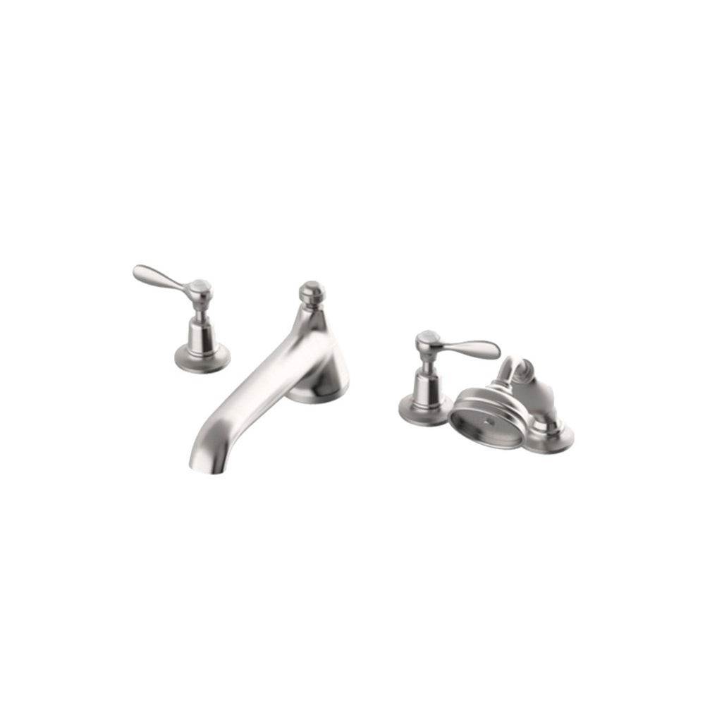 Waterworks Easton Classic Low Profile Tub Filler with Handshower in Matte Nickel