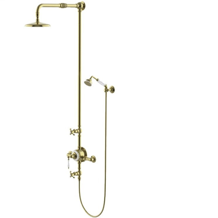 "Waterworks Etoile Exposed Thermostatic System with 8"" Shower Rose and Handshower in Unlacquered Brass For Sale Online"