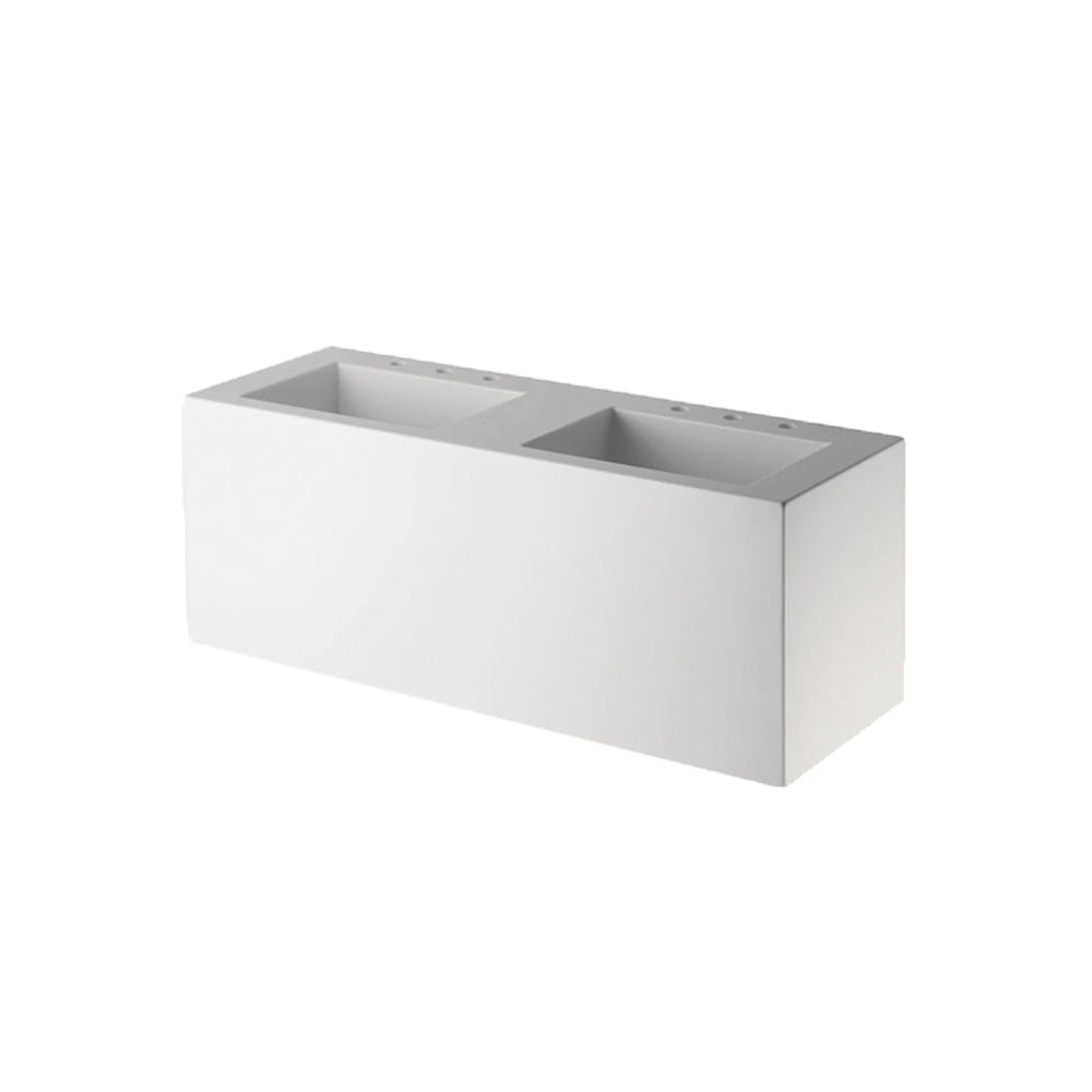 Waterworks .25 Lithic Rectangular Wall Mounted Double Sink for Three Hole Faucet