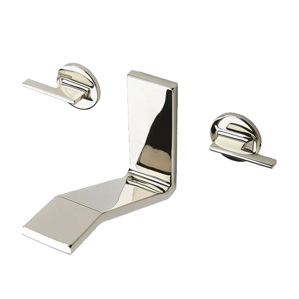 Waterworks Formwork Low Profile Three Hole Wall Mounted Lavatory Faucet with Metal Lever Handles in Vintage Brass