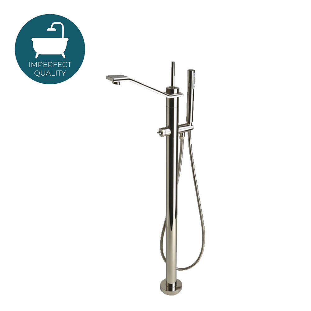 Waterworks Formwork Tub Faucet with Handshower in Unlacquered Brass