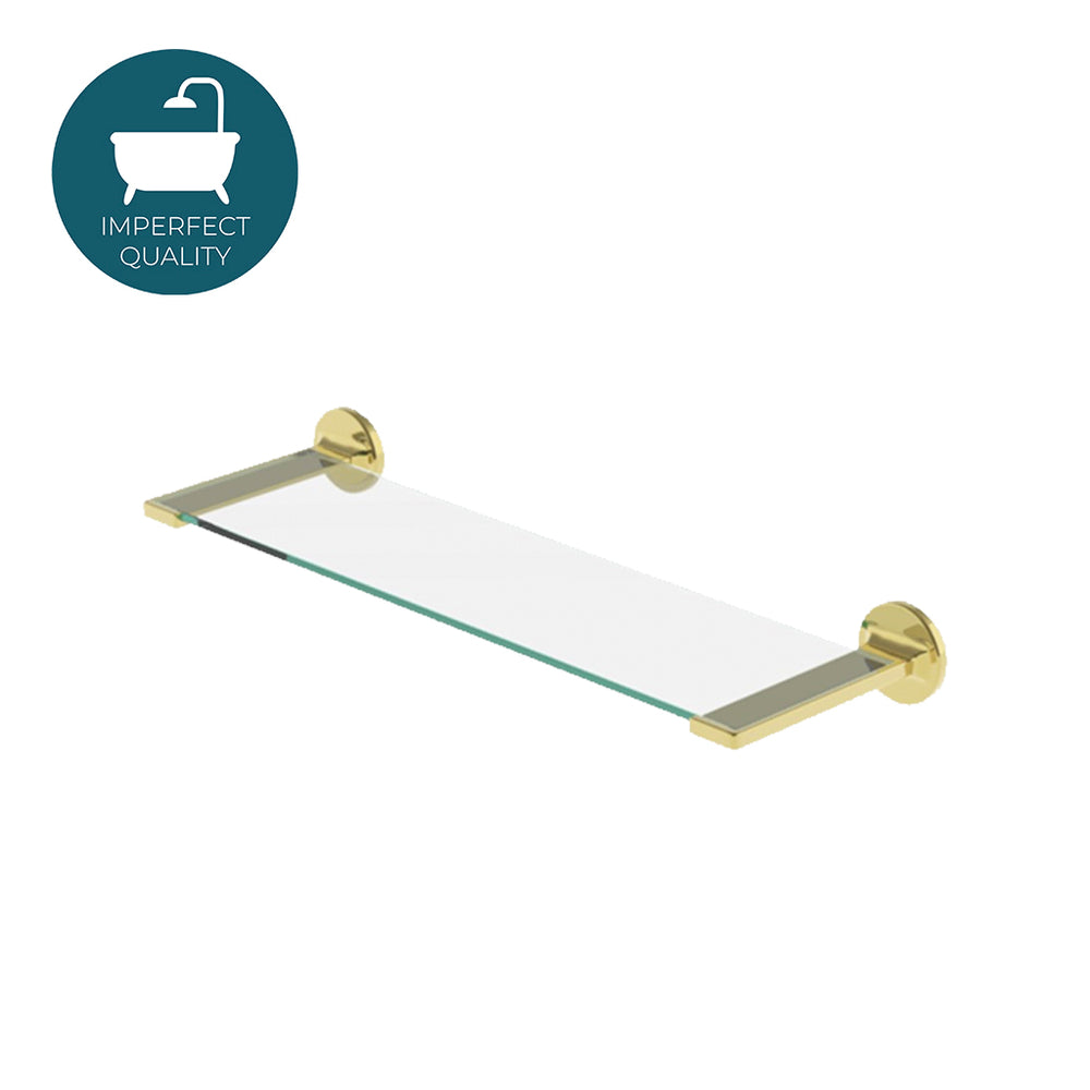 "Waterworks Formwork 18"" Single Tier Glass Shelf in Unlacquered Brass For Sale Online"