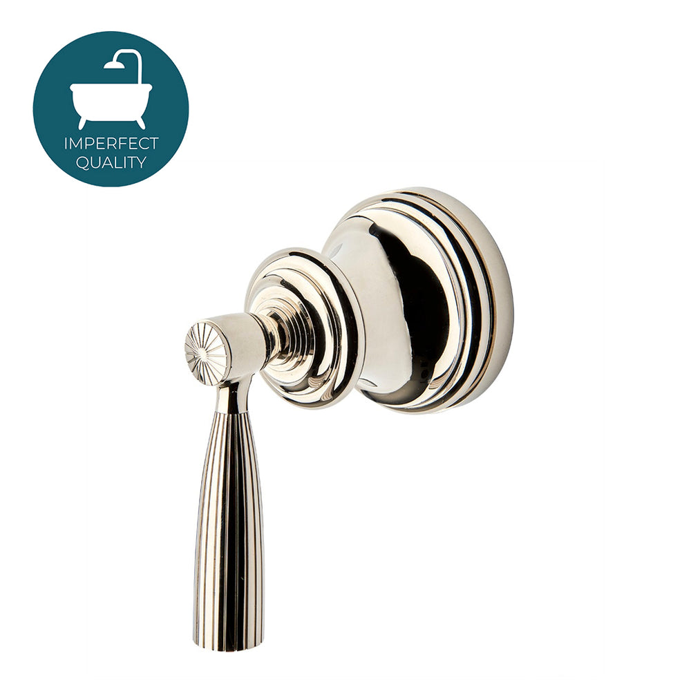 Waterworks Foro Volume Control Valve Trim with Metal Lever Handle in Nickel